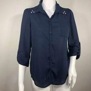 Anthropologie MAEVE Navy Button Up Front Down